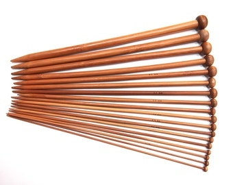 36 pcs (18 Sizes) Bamboo Knitting Needles - Single Pointed Needles