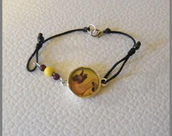 """Bird's-eye"" bracelet - resin Cabochon and metal silver"