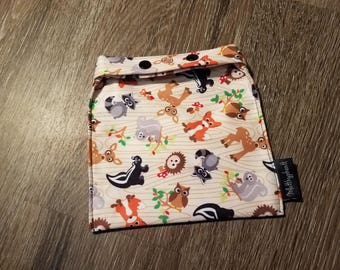 Reusable Snack Bags - washable snack bags - eco friendly bags - food safe bags - wipeable food bag - snap snack bag - reusable sandwich bag