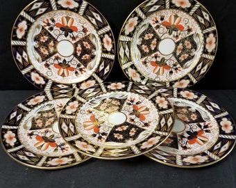 """Royal Crown Derby 2451 Traditional Imari 6"""" Bread Plates (5) matching"""