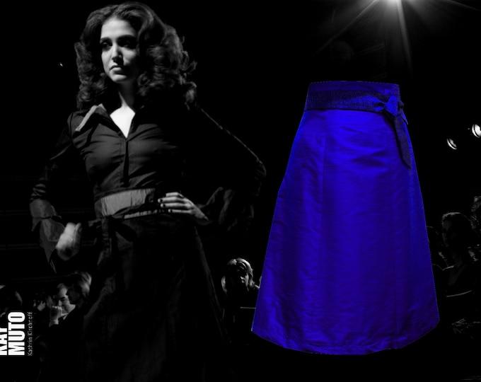 Silk skirt High waist skirt A- line skirt royalblue