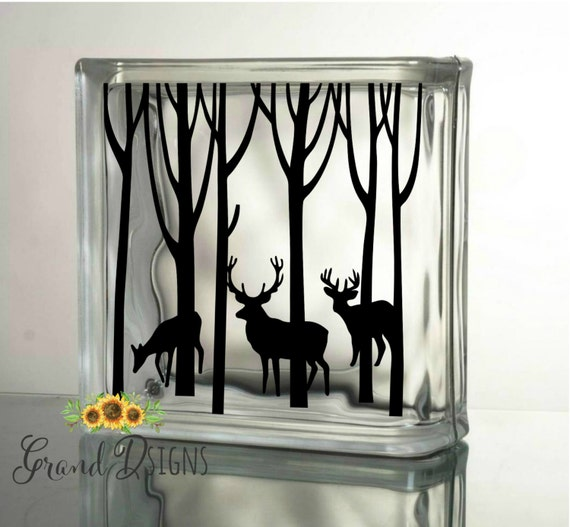 Winter Deer Decal Christmas Decals For Glass Blocks Vinyl - Glass block vinyl decals