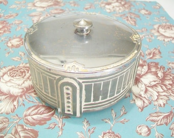 Art Deco Glass Powder Dish with Metal Lid, 1940s or 1930s