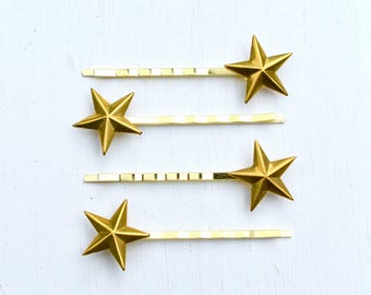 Gold Star Bobby Pins Star Hair Pins Bridal Hair Summer Boho Star Constellation Gift for Her Wedding Hair Pins Star Headpiece Gold Star