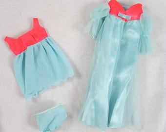 Barbie Doll Cloud Nine #1489  Nightgown Robe Set 1969 Mod Vintage