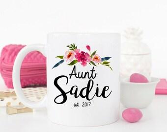 Aunt Mug, Aunt Gift, Gift for Aunt, Pregnancy Reveal, Coffee Mug, Aunt Coffee Mug, New Aunt Gift, Personalized Mug, Aunt to be, Auntie Mug