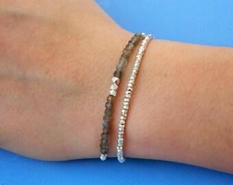 Sterling silver bracelet. Tiny silver bead bracelet. Labradorite bracelet. Friendship bracelet. Gemstone bracelet.Tiny silver  beads.GE006