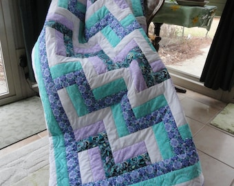 Hand Quilted Rail Fence Pattern 64x84 Quilt by Karrirose