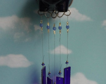 Flying Pig Wind Chime with Stained Glass Chimes