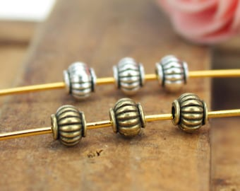 50 Tiny beads Bronze Silver spacer beads 5 x 4mm metal beads Loose pumpkin beads Spacers Bracelet Ribbed beads DIY beading Jewelry supplies