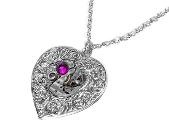 Steampunk Jewelry Necklace Silver Vintage Watch HEART Pendant HOT PINK Crystal Wedding, Anniversary Mothers, Bridal - Jewelry by edmdesigns