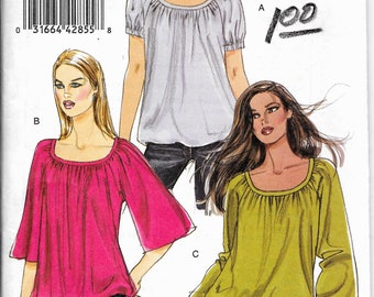 Vogue 8581 Easy Blouson Tunic, Scoop Neck Blouse, Raglan Sleeve, Plus Size Blouse, Size 18, 20, 22, 24 Uncut Sewing Pattern