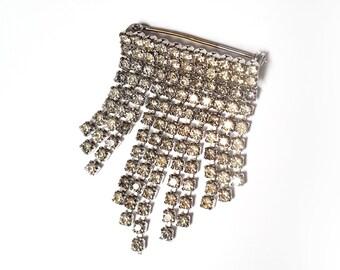 Sparkly Vintage Silver Tone Rhinestone Drop Brooch Pin 50's