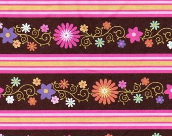 Sweet Flirtations Pink Border STripe Fabric 1 Yard