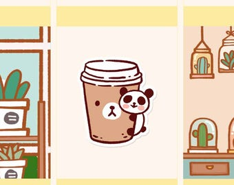 Cute Coffee takeaway tickers, Cute coffee planner Stickers, Cute drinks sticker, Cute panda sticker, Cute coffee Monday stickers (PD059)