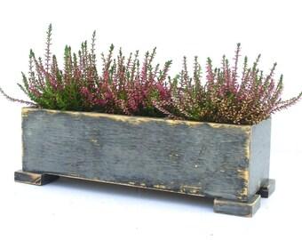 Wooden herb planter, Windowsill Flowerpot, Box for Herbs, Handmade box, Indoor herb summer garden