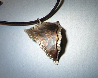 Hammered Copper on Sterling Silver Arrowhead pendant