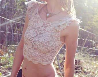 Unicorn Wings - Tea Stained Lace Pixie Crop Top
