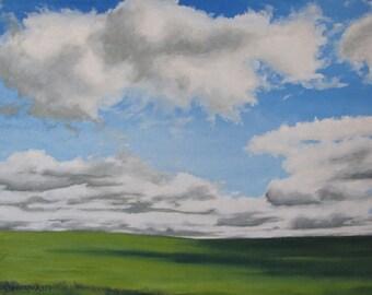 "Large Oil Painting Landscape Original Minimalist Cloudscape Impressionist Cloud Sky Canada Appalachian Quebec Fournier ""The Prairie 30 x 40"