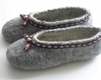Felt shoes, grey, comfortable gr. 37