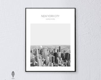 NYC Jungle   Eco-friendly Printable Art Instant Download. Black and White Modern Minimalist Print. Travel Photography Wall Art Poster.