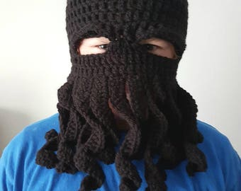 Black Octopus Costume Hat, Mens Halloween Costume, Cthulhu Mask, Knit Balaclava Hood, Valentine's Gift, Ready to Ship Gift, Best Selling