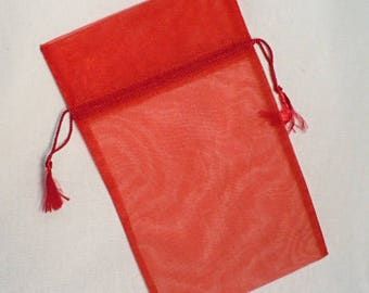 """sheer bag with tassel, gift sheer bag, red sheer bag with tassel 6"""" x 10"""", 11 pieces"""