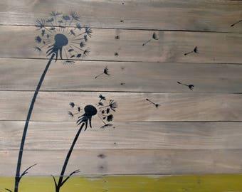 Unique pallet art, Dandelion, rustic, one of a kind