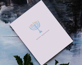 Holiday Winter Greeting Card - Happy Hanukkah - Menorah - Winter - Holiday - Blue - Gold - (HOL405)