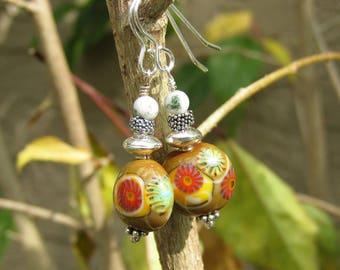 Artisan lampwork earrings-Earthy brown-Brightly colored lampwork jewelry- Lisa New Design