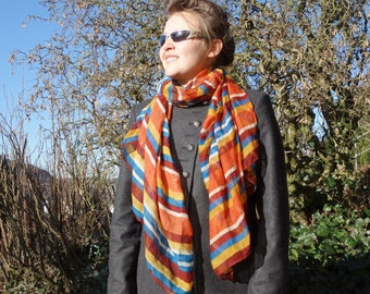 STRIPED SCARF - viscose scarf - womens accessories scarves - fashion scarf - brown blue red scarf - boho street style - soft cosy long B52