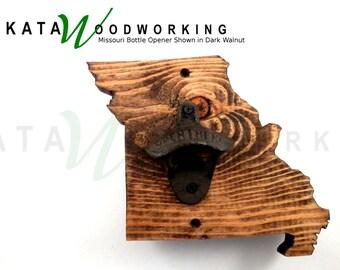 Missouri Wood Cut-out Bottle Opener - Wall Mount - Handmade!