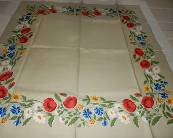 Beautiful swedish hand printed table cloth  / typical 1960s textile