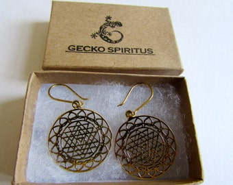 Sri Yantra Brass Mandela Earrings, Earrings handmade,Yoga Earrings with hooks, Nickel Free, Indian Jewellery, Gift boxed,Free UK post BG10