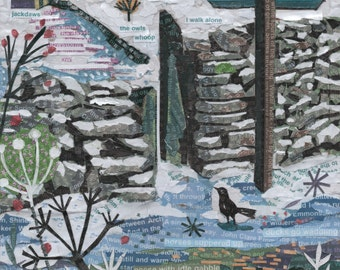 Winter Evening, John Clare, Poem, painting, giclee, print, poster, landscape, winter, home decore, wall art.