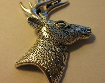 "Antique Silver Pewter Deer Pendant, 2 1/4"""