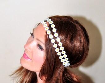 Double Strand Headband Daisy Headband Daisy Headwrap Hippie Headband Boho Women Trendy Girly Romantic Gift under 25