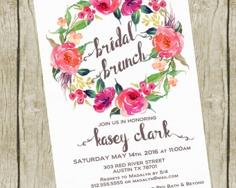 Bridal Shower Invitation Brunch. Bridal Shower Brunch Invitation Printable, Floral Bridal Shower Invites. Bridal Shower Invitation Floral.
