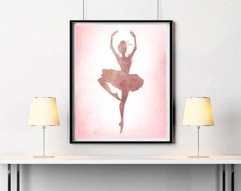 Rose gold wall decor Ballerina print Dancer wall decor Ballerina silhouette Ballerina painting Gift for dancer ArtPrintsByChrista