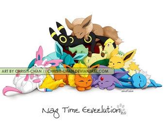 Naptime Pokemon Art: Eevees/Ninetails-Vulpix