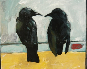 two crows sitting on a wire, having a tete-a-tete 12 x 12 original acrylic painting on canvas