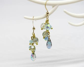 Silver plated cluster earrings gold Gold Filled and Crystal Swarovski Paradise Shine