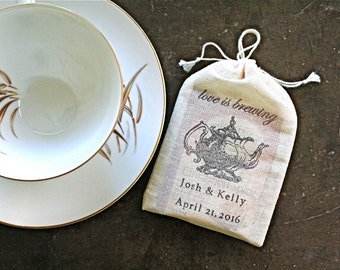 Personalized wedding favor bags, set of 50 cloth favor bags, Love is Brewing tea pot with names and wedding date, bridal shower tea favors