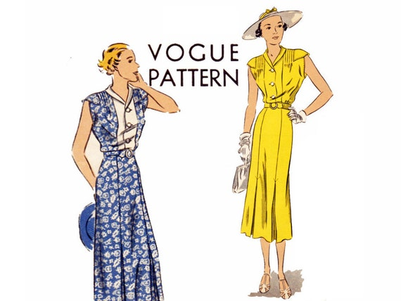 30s Vintage Vogue Dress Sewing Pattern Bust 36 Size 18 Vogue 7316 ...