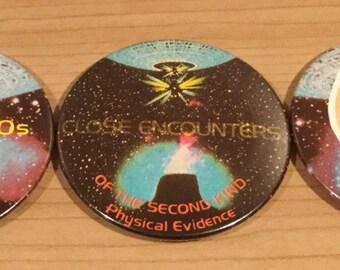 Vintage UFO Pin Badges x3