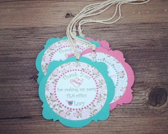 Tea Party Thank You Tags, Favor tags, Gift tags - Personalized  - baby shower, birthday - set of 12