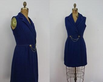 SALE // vintage 1960s dress / 60s navy blue nautical dress / 60s wrap dress / 60s jonathan logan dress / sz m med medium L large