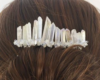 Piper Crystal Hair Comb - Silver