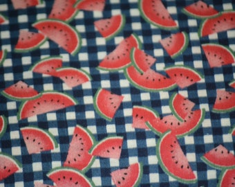 Blue & White Checked Watermelon Quilt Fabric By The Yard