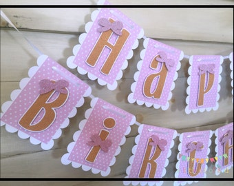 Pink and Gold Birthday Banner, Personalized 1st Birthday Banners, Pink And Gold Birthday Decorations, Pink And Gold Party,
